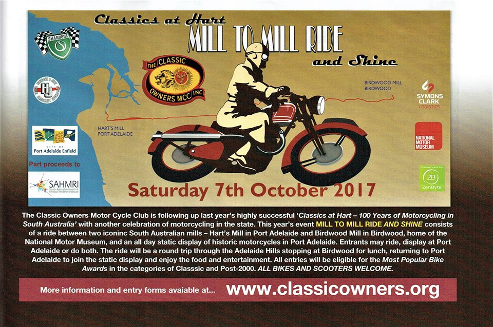 Mill to Mill, Ride and Shine - Saturday 7th October 2017 @ Harts Mill, Pt Adelaide | Port Adelaide | South Australia | Australia