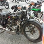 Rudge Whitworth 4 valve with 1929 New Imperial M1 beyond.