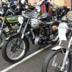 Older bikes lined up for the run to Birdwood.